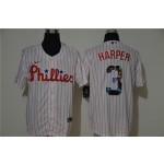 MLB Philadelphia Phillies #3 Bryce Harper White Nike Cool Base Player Jersey