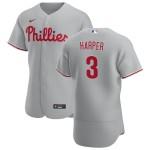 Men's Philadelphia Phillies #3 Bryce Harper Nike Gray Road 2020 Authentic Player MLB Jersey