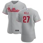 Men's Philadelphia Phillies #27 Aaron Nola Nike Gray Road 2020 Authentic Player MLB Jersey