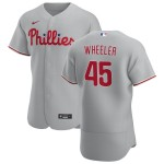 Men's Philadelphia Phillies #45 Zack Wheeler Nike Gray Road 2020 Authentic Player MLB Jersey