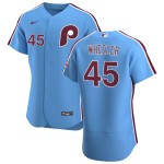 Men's Philadelphia Phillies #45 Zack Wheeler Nike Light Blue Alternate 2020 Authentic Player MLB Jersey