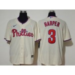 Philadelphia Phillies #3 Bryce Harper Cream 2020 Cool Base Jersey