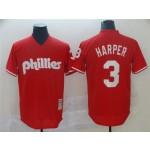 Philadelphia Phillies #3 Bryce Harper Red Cooperstown Mesh Batting Practice Jersey