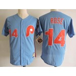 Men's Throwback Philadelphia Phillies #14 Pete Rose Blue Cooperstown Collection MLB Jersey