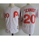 Men's Throwback Philadelphia Phillies #20 Mike Schmidt White Cooperstown Collection MLB Jersey