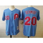 Men's Throwback Philadelphia Phillies #20 Mike Schmidt Blue 1983 Mitchell & Ness Jersey