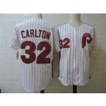 Men's Throwback Philadelphia Phillies #32 Steve Carlton White Cooperstown Collection MLB Jersey