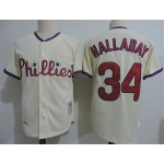 Men's Throwback Philadelphia Phillies #34 Roy Halladay Cream Cooperstown Collection MLB Jersey