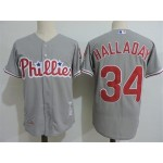 Men's Throwback Philadelphia Phillies #34 Roy Halladay Grey Cooperstown Collection MLB Jersey