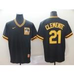 MLB Pittsburgh Pirates #21 Roberto Clemente Black Nike Throwback Jersey