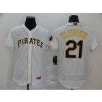 MLB Pittsburgh Pirates #21 Roberto Clemente White Gold 2020 Nike Flexbase Jersey