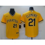 Pittsburgh Pirates #21 Roberto Clemente Gold Cooperstown Collection Jersey