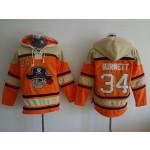 MLB Pittsburgh Pirates #34 A.J. Burnett Orange All Stitched Hooded Sweatshirt
