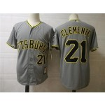 Men's Throwback Pittsburgh Pirates #21 Roberto Clemente Grey Cooperstown Collection MLB Jersey