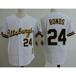 Men's Throwback Pittsburgh Pirates #24 Barry Bonds White Cooperstown Collection MLB Jersey