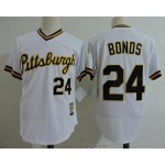 Men's Throwback Pittsburgh Pirates #24 Barry Bonds White Pullover Jersey