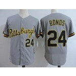 Men's Throwback Pittsburgh Pirates #24 Barry Bonds Grey Cooperstown Collection MLB Jersey