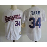 Men's Throwback Texas Rangers #34 Nolan Ryan White Cooperstown Collection MLB Jersey