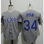 Men's Throwback Texas Rangers #34 Nolan Ryan Grey Cooperstown Collection MLB Jersey
