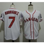Men's Throwback Texas Rangers #7 Ivan Rodriguez White Cooperstown Collection MLB Jersey