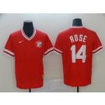 MLB Cincinnati Reds #14 Pete Rose Red Nike Throwback Jersey