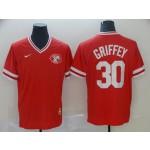 MLB Cincinnati Reds #30 Ken Griffey Jr Red Nike Throwback Jersey