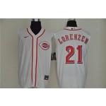 MLB Cincinnati Reds #21 Michael Lorenzen White Nike Cool Base Sleeveless Jersey