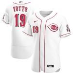 Men's Cincinnati Reds #19 Joey Votto Nike White Home 2020 Authentic Player MLB Jersey