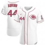 Men's Cincinnati Reds #44 Aristides Aquino Nike White Home 2020 Authentic Player MLB Jersey