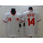 Men's Cincinnati Reds #14 Pete Rose Vintage White Jersey