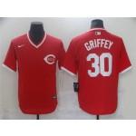 Men's Cincinnati Reds #30 Ken Griffey Jr. Vintage Red Jersey