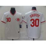 Men's Cincinnati Reds #30 Ken Griffey Jr. Vintage White Jersey