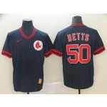 MLB Boston Red Sox #50 Mookie Betts Navy Nike Throwback Jersey