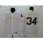 MLB Boston Red Sox #34 David Ortiz White Gold 2020 Nike Flexbase Jersey