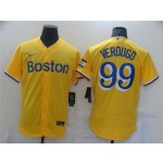 Boston Red Sox #99 Alex Verdugo Gold with Name 2021 City Connect Flex Base Jersey