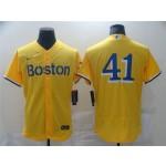 Men's Boston Red Sox #41 Chris Sale Gold 2021 City Connect Flex Base Jersey