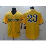 Boston Red Sox #23 Michael Chavis Gold 2021 City Connect Cool Base Jersey