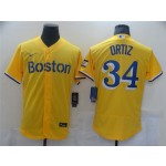 Boston Red Sox #34 David Ortiz Gold With Name 2021 City Connect Flex Base Jersey