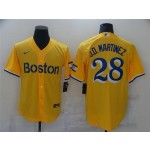 Boston Red Sox #28 J.D. Martinez Gold With Name 2021 City Connect Cool Base Jersey