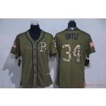 Women Boston Red Sox #34 David Ortiz Olive 2020 Nike Cool Base Jersey