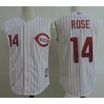 Men's Throwback Cincinnati Reds #14 Pete Rose White Sleeveless Jersey