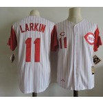 Men's Throwback Cincinnati Reds #11 Barry Larkin 1995 White with Red Sleeve Jersey