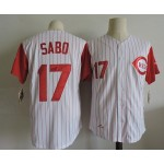 Men's Throwback Cincinnati Reds #17 Chris Sabo 1993 White with Red Sleeve Jersey