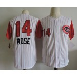 Men's Throwback Cincinnati Reds #14 Pete Rose White with Red Sleeve Jersey