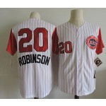Men's Throwback Cincinnati Reds #20 Frank Robinson White with Red Sleeve Jersey