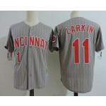 Men's Throwback Cincinnati Reds #11 Barry Larkin Grey Cooperstown Collection Jersey