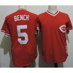 Men's Throwback Cincinnati Reds #5 Johnny Bench Red Cooperstown Collection Jersey