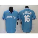 MLB Kansas City Royals #16 Bo Jackson Sky Blue Nike Throwback Jersey