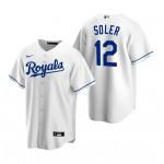Men's Kansas City Royals #12 Jorge Soler Nike White Home 2020 Coolbase Jersey
