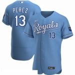 Men's Kansas City Royals #13 Salvador Perez Nike Light Blue Alternate 2020 Authentic MLB Jersey